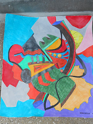 Original Colored Pencil  Drawing  Untitled Absract Art Signed