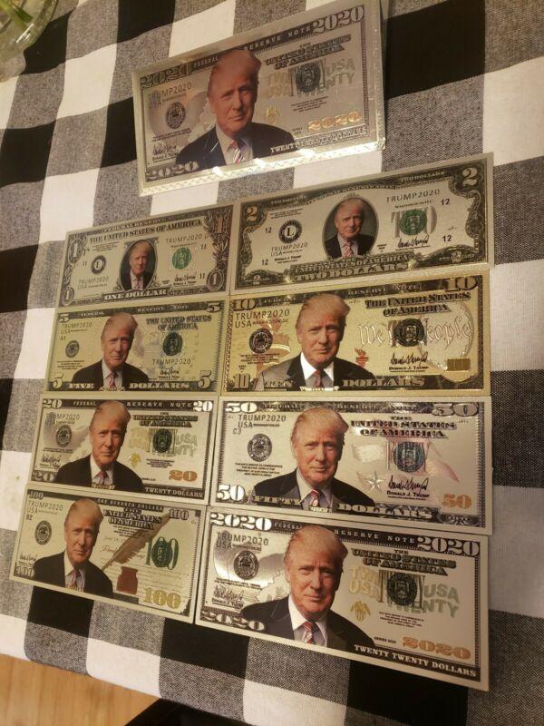 Donald Trump Silver US bill set+Trump envelope $1,2,5,10,20,50,100, & 2020 bill!