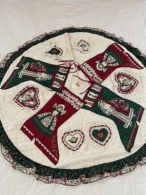 Vintage Handmade Victorian Christmas Stocking Quilt Christmas tree Skirt #594