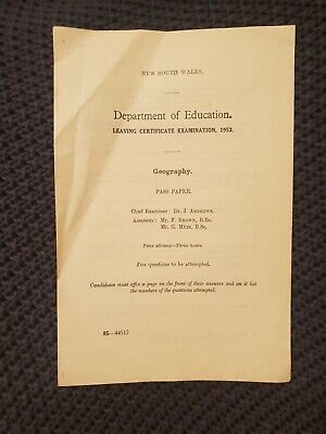 NSW Department of Education Leaving Certificate Examination 1953 - Geography