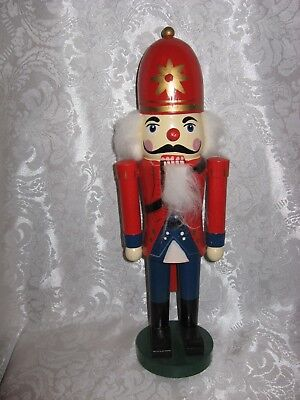 "CLEAN Nutcracker Wooden Soldier 13.75"" Christmas Red Helmet Red/BLUE Uniform BOX"