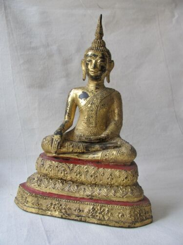 Antique Thai Late Ratanakosin / Bangkok Period Seated Gilt Bronze Buddha Figure