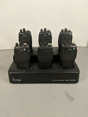 Lot Of 6 Icom Ic-f21 Two-way Uhf 16-channel Radio Wbc-121n Charger