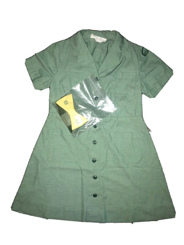 Vintage Girl Scout dress with belt, bow tie, & socks size 8.5