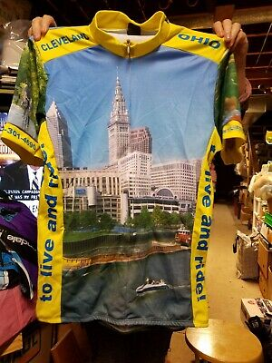 Blue cleveland scenic CYCLING JERSEY SHIRT~Back Pockets~Adult medium 12fbb8d7e