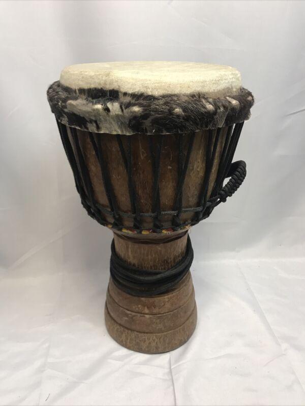 "African Handmade Djembe Drum 21"" High, 11"" In Diameter, With Bag"