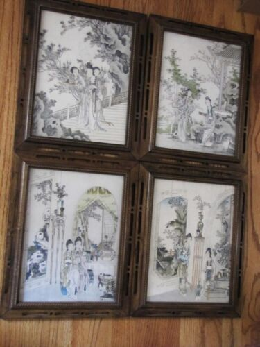 Antique 19th Century Chinese Beautiful  Watercolor on Paper w/Frame