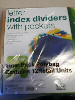 Lot Of 12 Plastic Index Dividers 8 Tabs W Pocket 8.5in X 11in 24 Total Up Up