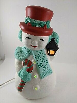 "Vintage Ceramic Light Up Snowman 13"""