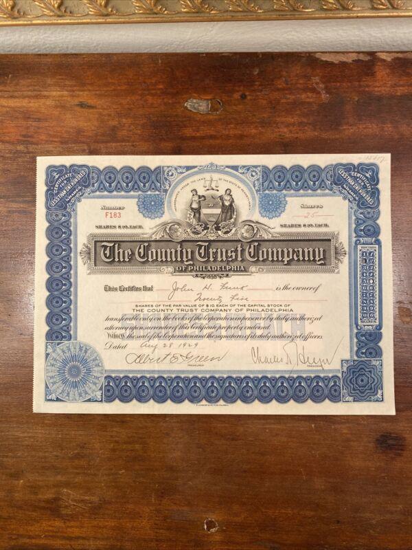 1929 The County Trust Company of Philadelphia Stock Certificate