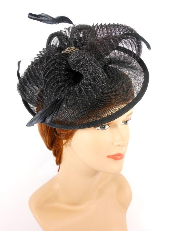 New Church Derby Wedding Fascinator Dress Hat with Headband TS006022 Black