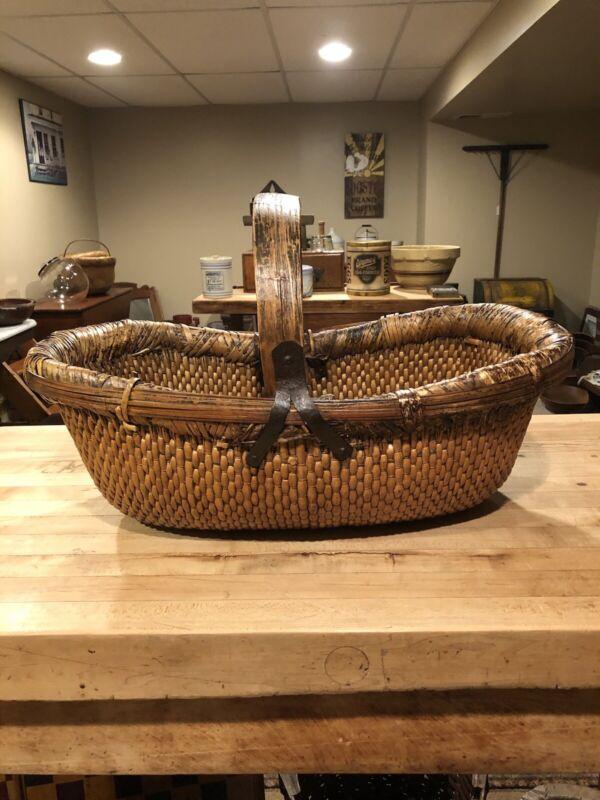 Antique Hand made Gathering Basket