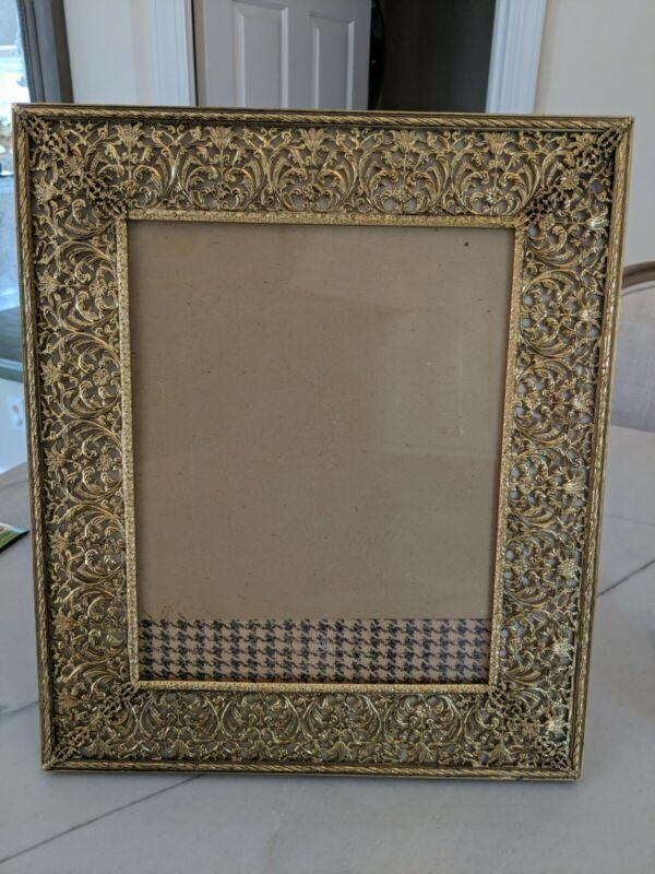 RARE VTG Gold Gilt Brass Filigree Scrolls Floral Engraved Picture Frame