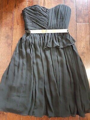 Mango Suit Ball Prom Wedding Dress Black with Chiffon Gold Belt