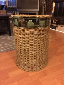 Wicker and Wrought Iron hamper / basket
