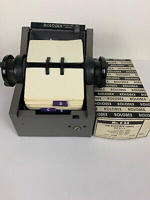 Vintage Industrial Gray Metal Rolodex Model 2254d 4 With Address Cards
