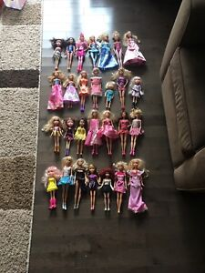 Barbie sets and dolls.