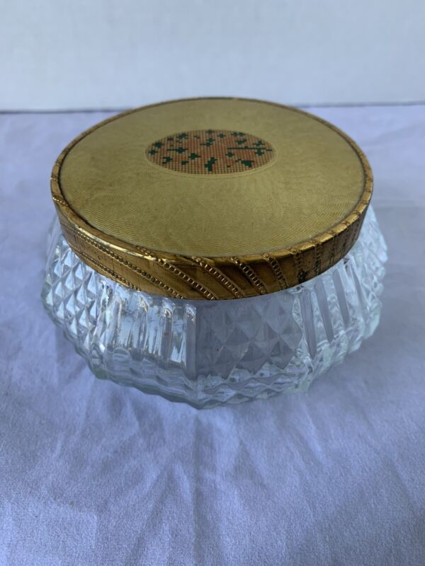 Vintage Glass Powder Jar With Metal Lid