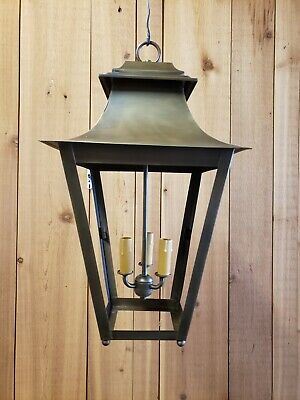 Period Lighting Fixtures prototype Antique Brass Tapered Hanging Lantern