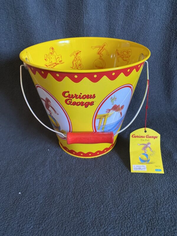 NEW! Curious George Tin Pail / Bucket by Schylling - Universal Studios NWT