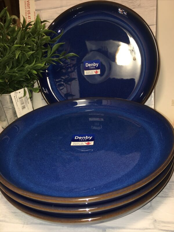 Denby Imperial Blue w/ Brown Trim Dinner & Salad Plates Set Of 4 Made In England