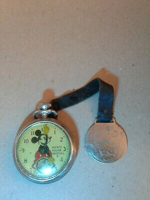 "INGERSOLL 1930's long stem ""MICKEY MOUSE POCKET WATCH"" BY Disney AND FOB RUNNING"