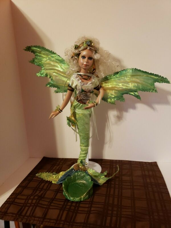 """Rare Kirks Folly Loreli Mermaid Magic Porcelain Doll 17"""" in height with Stand"""
