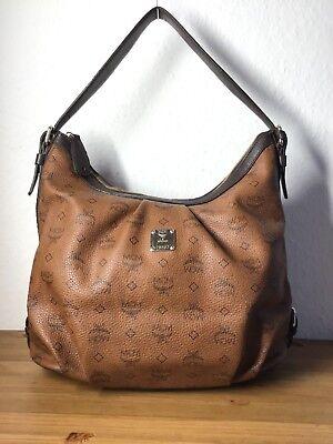 Canvas Leder Hobo Bag (MCM Original  Visetos  Hobo Bag Shopper Braun M )