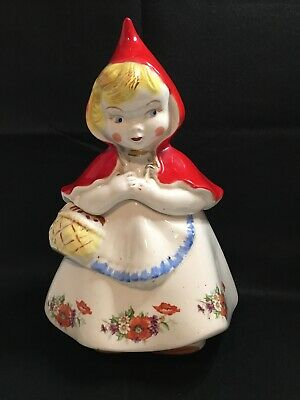 "Vintage Hull Little Red Riding Hood Cookie Jar 13"" w/ Poppies & Gold Trim"