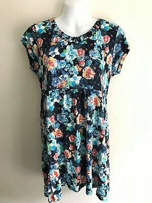 Fat Face Blue Floral Tunic Smock Top V-neck Cut Out Size 14