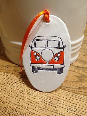 Beautiful Handmade Clay Hanging Orange VW Camper Van Decoration/gift Tag New