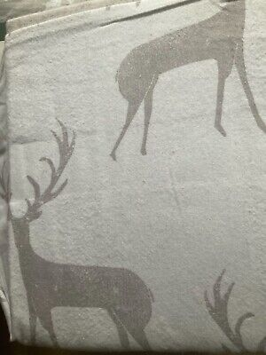 4sqm Woodland stag print Large pc White 100% Brushed Cotton print fabric 2m/2m