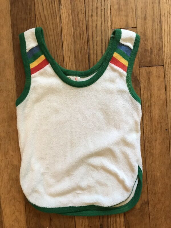 Vintage 70's Terry Cloth Winnie The Pooh Sears Rainbow Tank Top Sz 8 Boys Girls