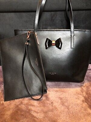 Ted Baker Black And Rose Gold Handbag And Clutch Bag