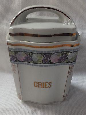 Vorratsdose Vorratsbehälter aus Porzellan Blumendecor Gries 1920er Jahre