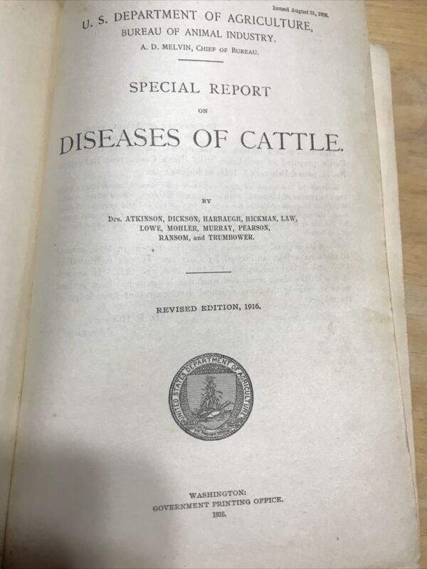 RA346 Department Agriculture Special Report Diseases Cattle 1916 Illustrated