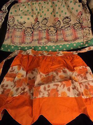 2 vintage aprons: Kitten cat print, orange roses; half aprons with pockets