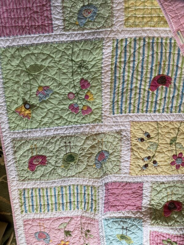Pottery Barn Kids Crib Quilt/wall Hanging Birds Flowers Pink Green