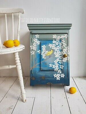 PAINTED KITCHEN WALL CUPBOARD bathroom cabinet SOLID PINE shabby chic BLUE white