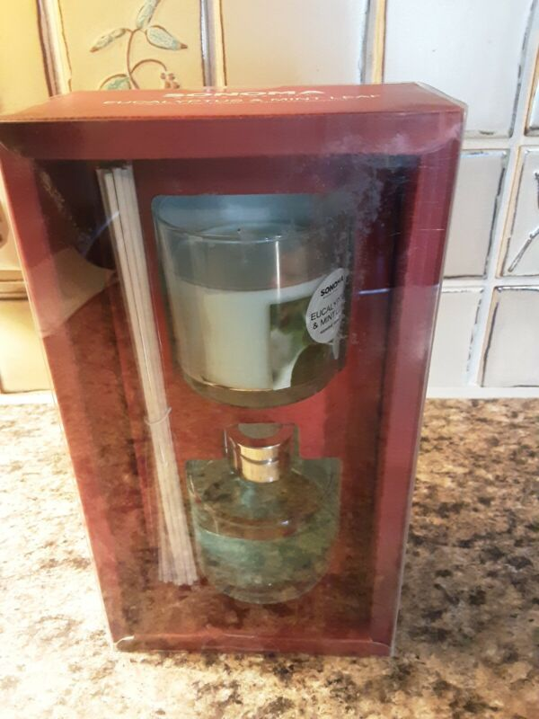 NEW Sonoma Candle Jar And Reed Diffuser In Eucalyptus & Mint Leaf Boxed Gift Set