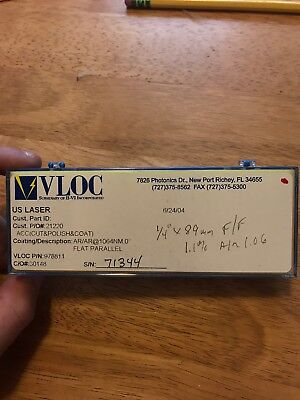 Vloc Ndyag Laser Rod 6mm Dia X 89mm Arar 1064nm Nd1.1 New In Box 1.06
