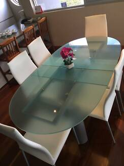 Elegant Milano Frosted Glass Extension Dining Table and 8 Chairs