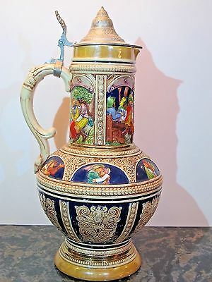 """Old 3L German Beer Stein by Gerz, Mold #850 16"""" Tall"""