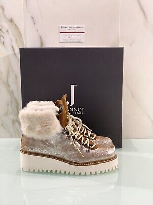 Jeannot Ankle Boot Lightweight Boot Woman Wedges Leather Silver Made in Italy 36