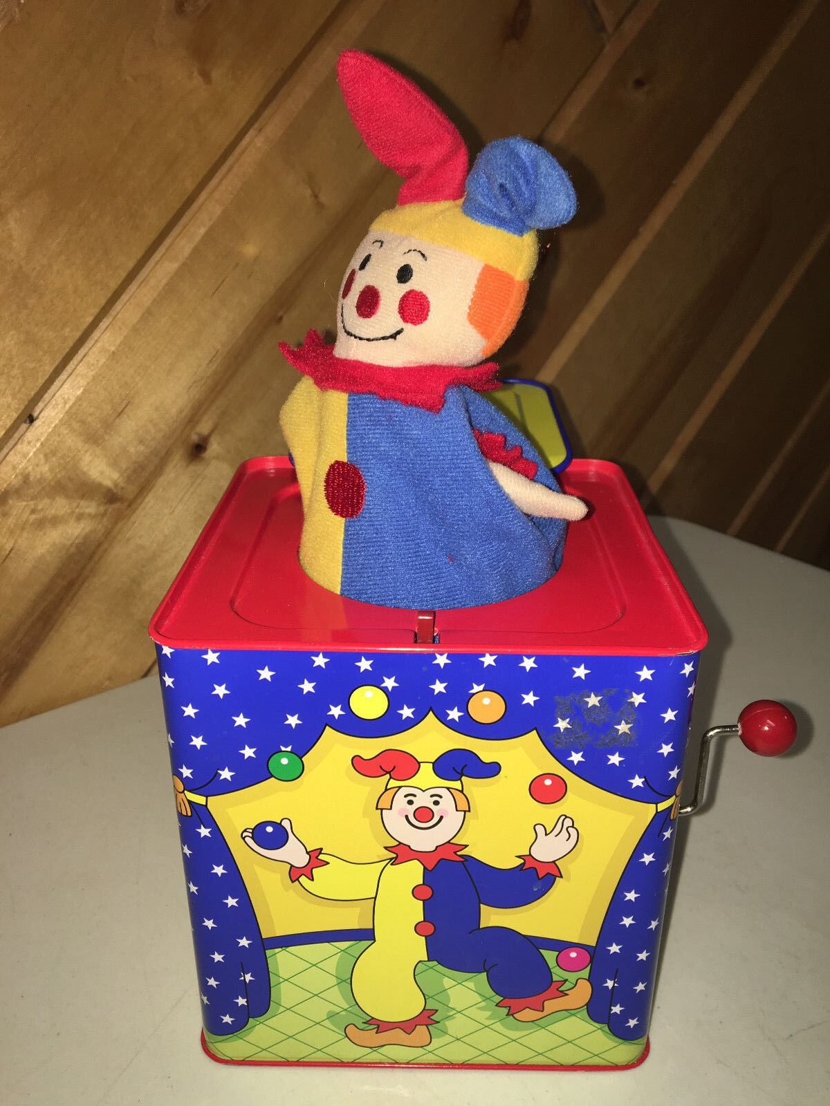 SCHYLLING METAL JACK IN THE BOX W CLOWN TODDLER TOY EUC