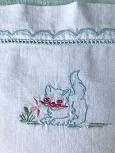 Vintage Baby Pillowcase Hand Embroidery Kitten White Cotton 1960s 1970s
