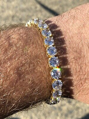 Mens 35ct Lab Diamond Tennis Bracelet 14k Yellow Gold Over Solid 925 Silver 7mm