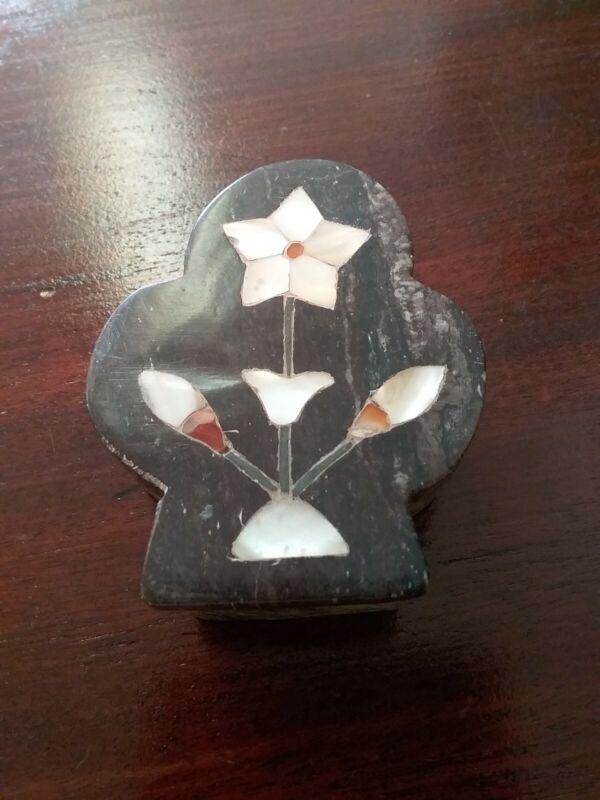 Vintage Stone Trinket Box Inlaid Mother Of Pearl Flower