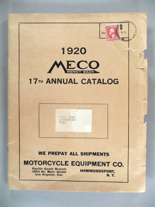 Meco Motorcycle Equipment CATALOG #17 - 1920 ~~ accessories, supplies