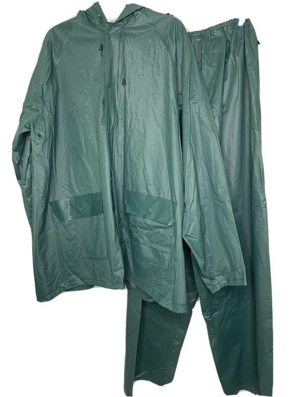 Bass Pro Shops Fishing Rain Gear Green Hooded Jacket Pants  2-pc. Mens Size XL
